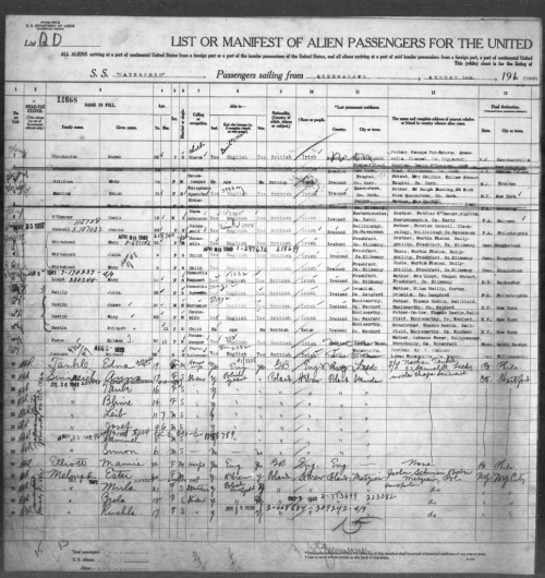 Sinnreichs arrival in US ship manifest